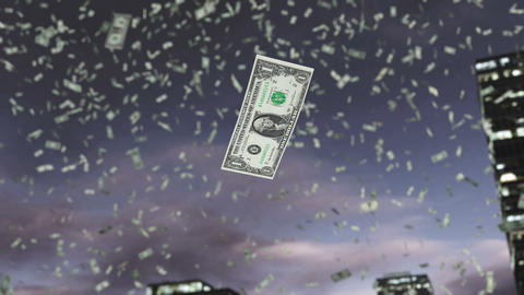 Paper dollar money fall from the sky 4K Animation