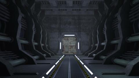 Corridor. Doors with green screen and alpha matte 4K Animation