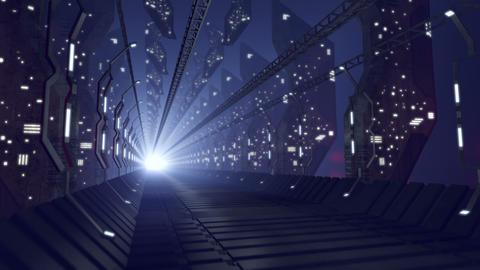 Future sci-fi corridor of glass, loop-able 4K Animation