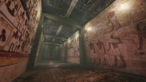 Animated tomb with old wallpaintings in ancient Egypt 4K Animation