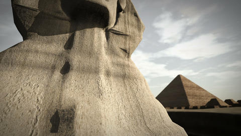 Animation of the Sphinx at the Giza platform, Egypt 4K Animation