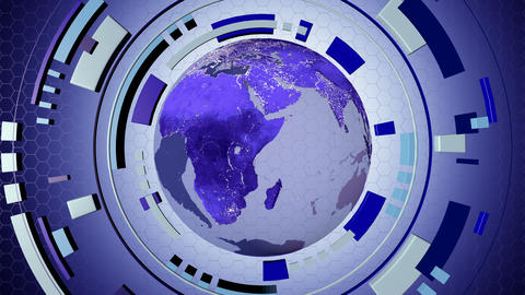 Animated media interactive hud with a loop-able earth globe 4K Animation