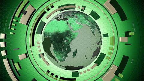 Animated interactive media hud with a loop-able globe 4K Animation