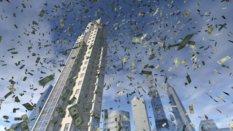 Dollar money fall from animated real buildings 4K Animation
