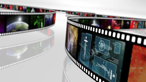 Animated loop-able rotating film reels 4K Animation