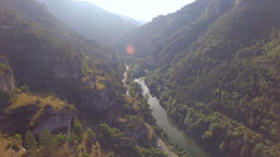 Bright Sunshine Over Hillside Forest and River Live Action