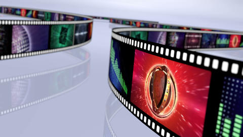 Animated loop-able rotating film reels. Multicolor 4K Animation