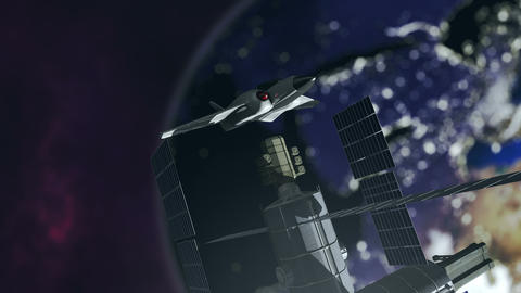 Animated spaceshuttle embarks at a spacestation 4K Animation