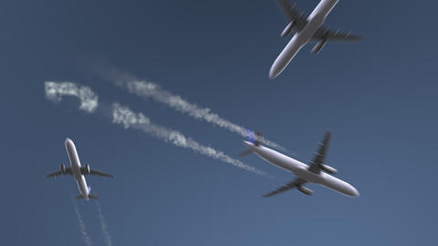 Flying airplanes reveal Berlin caption. Traveling to Germany conceptual intro Footage