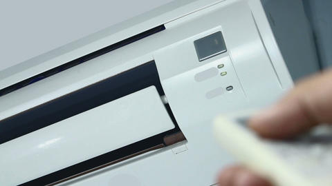 Turning On Air Conditioner Footage