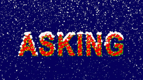 New Year text text ASKING. Snow falls. Christmas mood, looped video. Alpha Animation