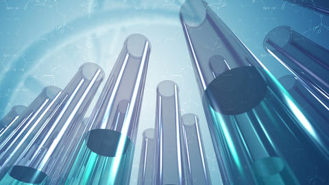 Animated glass laboratory test tubes and science background 4K Animation
