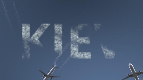 Flying airplanes reveal Kiev caption. Traveling to Ukraine conceptual intro Live Action