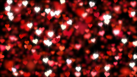 Hearts falling, glitter, animation, background. Loop Animation