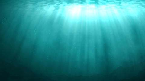 Blue underwater scene with rays of sunlight Animation