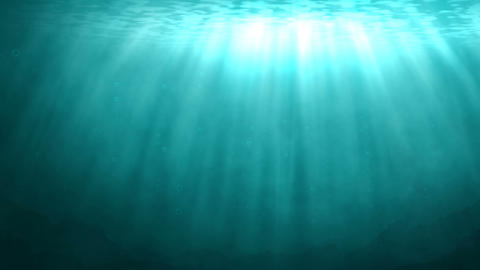 Blue underwater scene with rays of sunlight Stock Video Footage