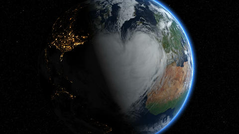 Hearts and clouds. Sunrise. Earth From Space Animation