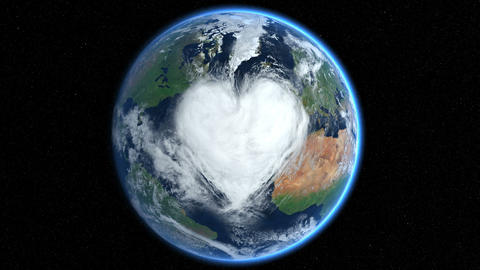 Hearts and clouds. Morph. Earth From Space Animation