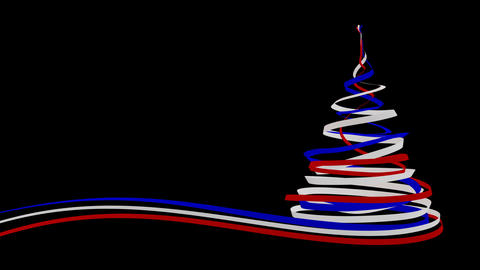 Christmas Tree From Blue, Red And White Tapes. Alpha Matte Animation