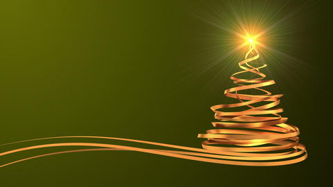 Christmas Tree From Gold Tapes Over Green Background Animation