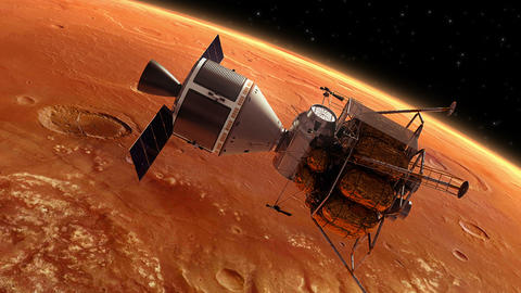 Interplanetary Space Station Orbiting Planet Mars Animation
