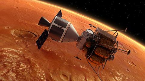 Interplanetary Space Station Orbiting Planet Mars Animation
