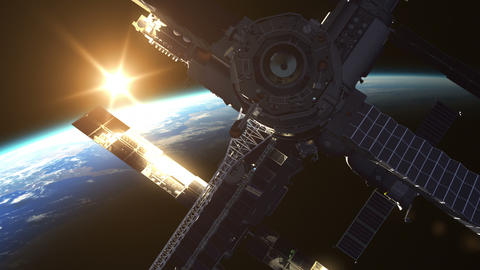 Flight Of Space Station On The Background Of The Rising Sun Animation