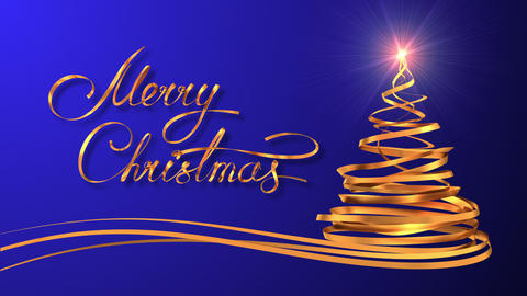 "Writing Golden Ribbon Text ""Merry Christmas"" And Christmas Tree Over Blue Backgr Animation"