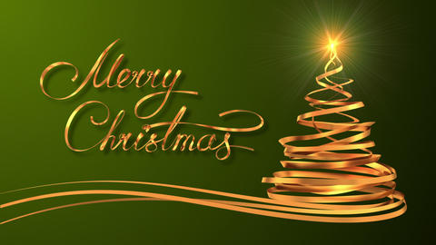 """Writing Golden Ribbon Text """"Merry Christmas"""" And Christmas Tree Over Green Backg Animation"""