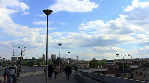 Belgrade - April 20: Timelapse video of clouds and pedestrians at the street of  Footage