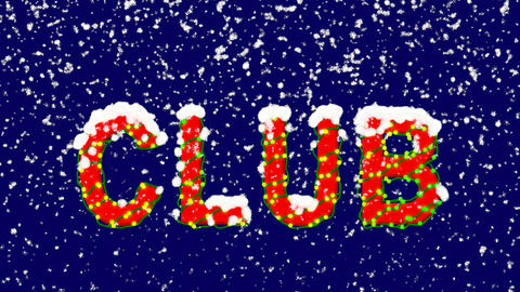 New Year text text CLUB. Snow falls. Christmas mood, looped video. Alpha channel Animation