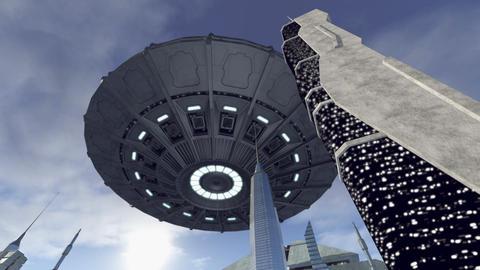Sensational UFO hoovering above a sci-fi city 4K Animation