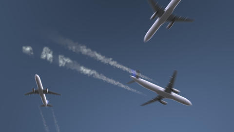 Flying airplanes reveal Medellin caption. Traveling to Colombia conceptual intro Footage