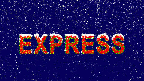 New Year text text EXPRESS. Snow falls. Christmas mood, looped video. Alpha Animation