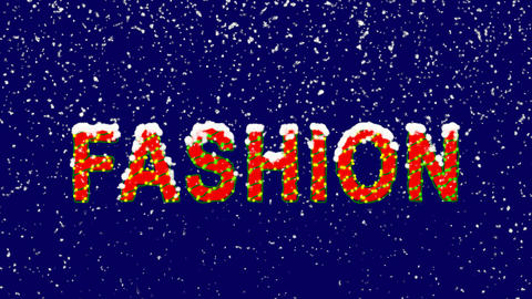 New Year text text FASHION. Snow falls. Christmas mood, looped video. Alpha Animation