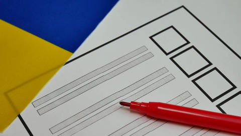 Voting paper ballot in Ukraine Footage
