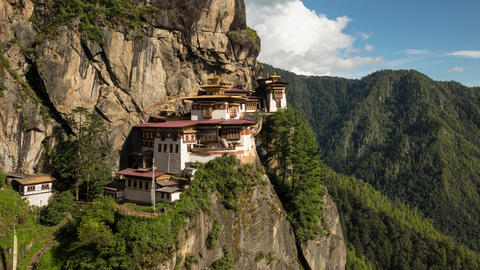 Time Lapse of Tiger's Nest Monastery in Bhutan Live Action