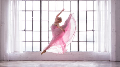 Beautiful Ballerina In Slow Motion Footage