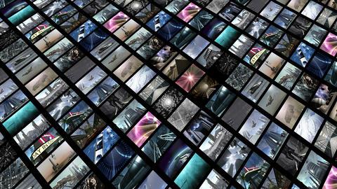 Animated video wall, diagonally. Loop-able 4K Animation