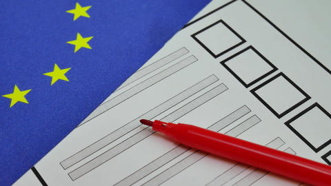 Voting paper ballot in European Union Footage