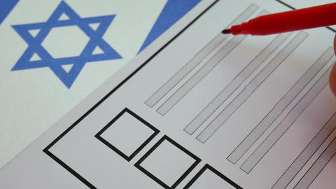 Voting paper ballot in Israel Footage