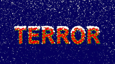 New Year text text TERROR. Snow falls. Christmas mood, looped video. Alpha Animation