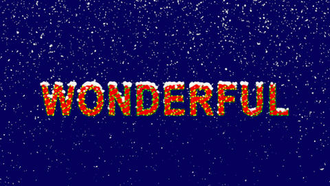 New Year text text WONDERFUL. Snow falls. Christmas mood, looped video. Alpha Animation