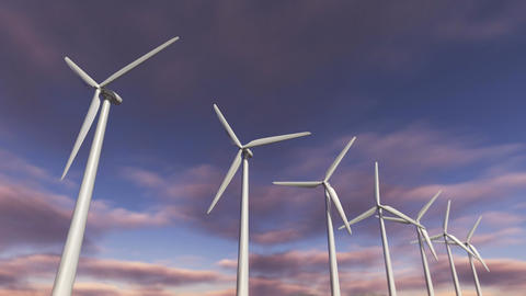 Animated wind turbines in a row. Loop-able 4K Animación