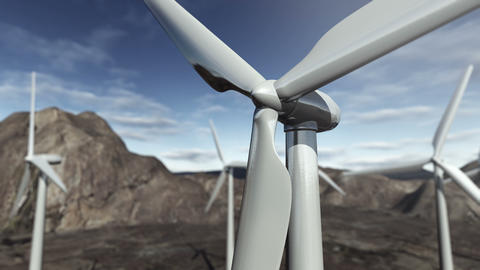 Animated wind turbines. 4K Animación