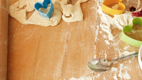 View from the above on ingredients and tools for bakery on wooden board Footage