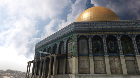 Animation of Dome of the Rock clouds timelapse in Jerusalem Stock Video Footage