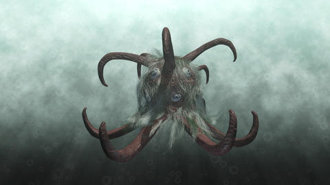 Animation of a fantasy monster underwater Animation