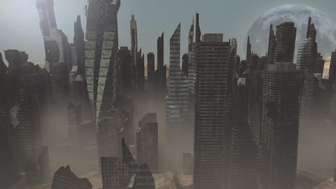 Collapsing buildings on an animated planet Animation