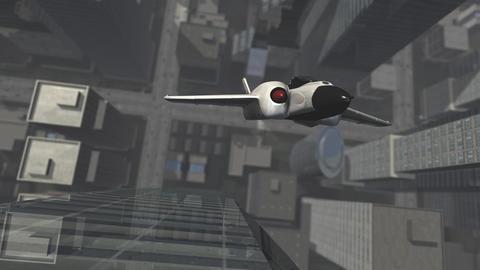Futuristic spaceship in u turn above a 3D city Animation